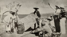 "Production still showing Eisenstein, Aleksandrov, and Tisse at work on ""Que viva Mexico!"" Here Eisenstein's collective production company is at work, Eisentein on the right"